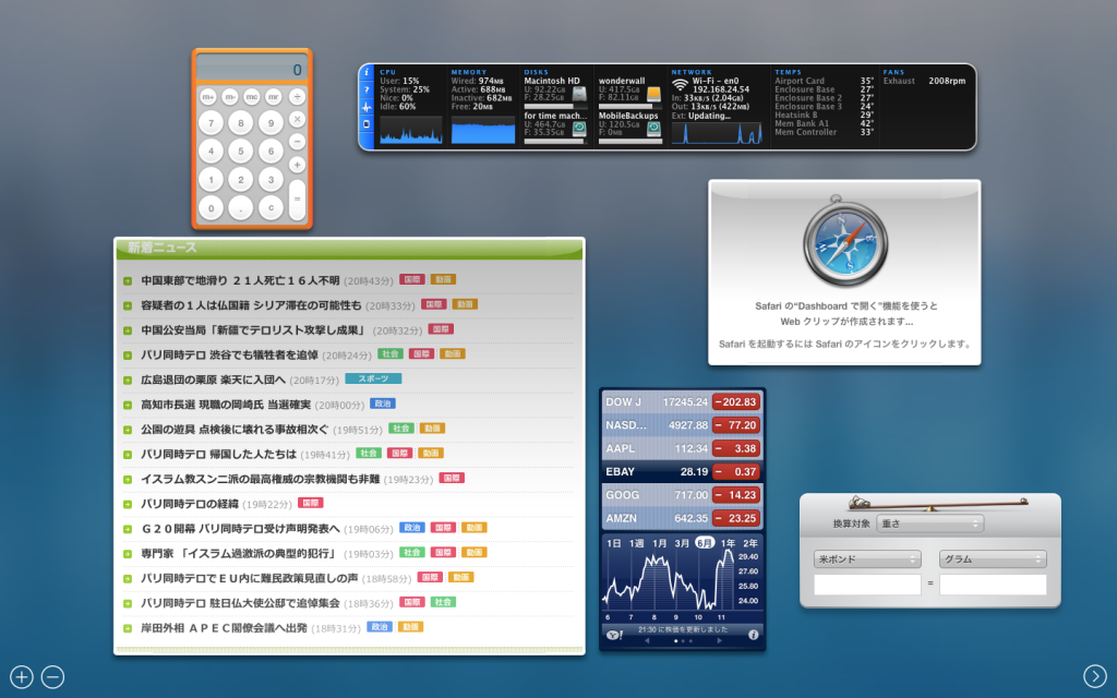 mac dashboard webクリップ