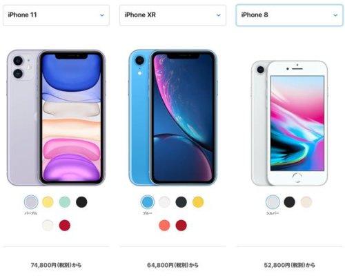 iPhone8,XR,11を比較